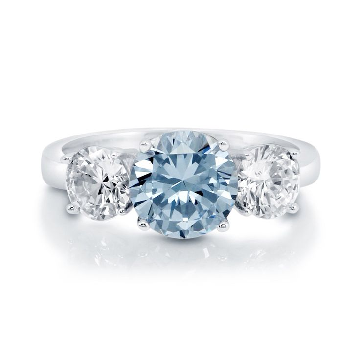 Enter #BerriclePinToWin for $500 in Prizes! Round Cut CZ Simulated Aquamarine 925 Silver 3 Stone Ring
