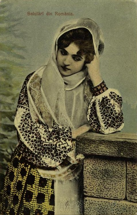 """Greetings from Romania""  Vintage Postcard with Romanian folk dress     http://25.media.tumblr.com/tumblr_m9i9s6W0cI1ry8b8eo1_r2_500.jpg"
