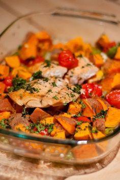 Zalige zalm uit de oven met zoete aardappel