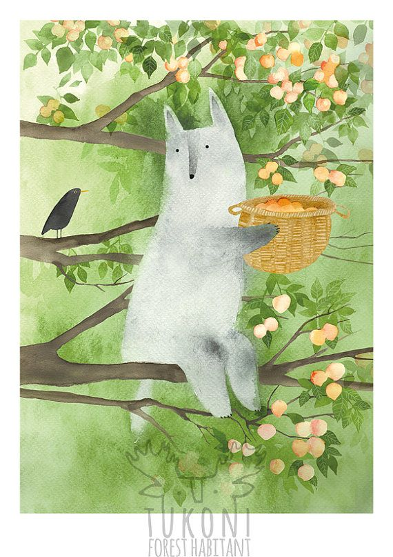 Wolf and apricots Art print Animal poster Wolf by TukoniTribe