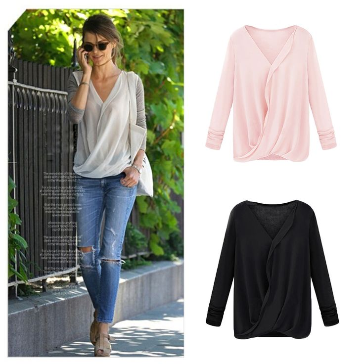 New Style Women Blouse Chiffon Patchwork Wrap Front V Neck Long Sleeve Sexy Loose Tops Black