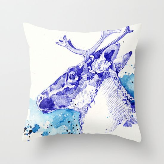Marie-Eve Arpin - Art https://www.facebook.com/MarieEveArpinArt Ciel Boréal ( Étude de Caribou ) 2015. Society6. Throw Pillow. Deco Design Illustration Animal Caribou Art