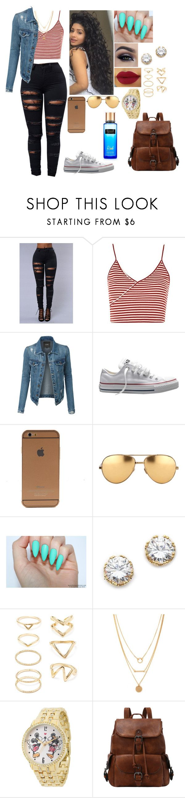 """""""."""" by mrsbreezy0522 ❤ liked on Polyvore featuring Topshop, LE3NO, Converse, Linda Farrow, Kenneth Jay Lane, Forever 21, Disney and Victoria's Secret"""
