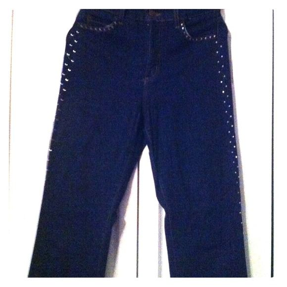 NYDJ tummy tuck jeans Crystal embellished jeans. (Not Your Daughter Jean brand). Stretchy. Worn once with a control top panel to give you tummy tuck appearance without the cost. Oprah had them on the show and I thought I would try NYDJ Pants