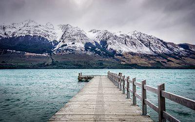 Scarica sfondi pier, montagne, nuova zelanda, lago