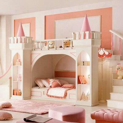 Princess castle bunk beds girls rooms pinterest for Princess castle bedroom ideas