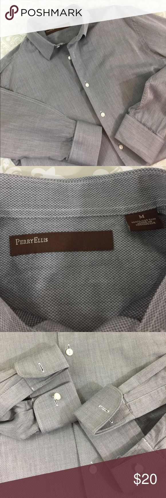 Perry Ellis French Cuff Shirt Size M Excellent condition Perry Ellis Shirt with French Cuffs.  Tiny gray and white pattern.  100% cotton.  See pictures for measurements.  Bundle your likes for a private offer.  Thank you for shopping my closet!  👔 Perry Ellis Shirts Dress Shirts