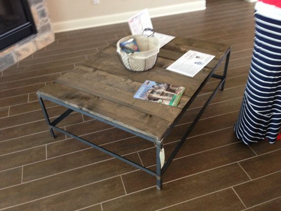 Industrial Angel Iron Coffee Table With Reclaimed Wood Top, $140.00