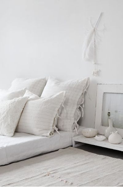 White bed..