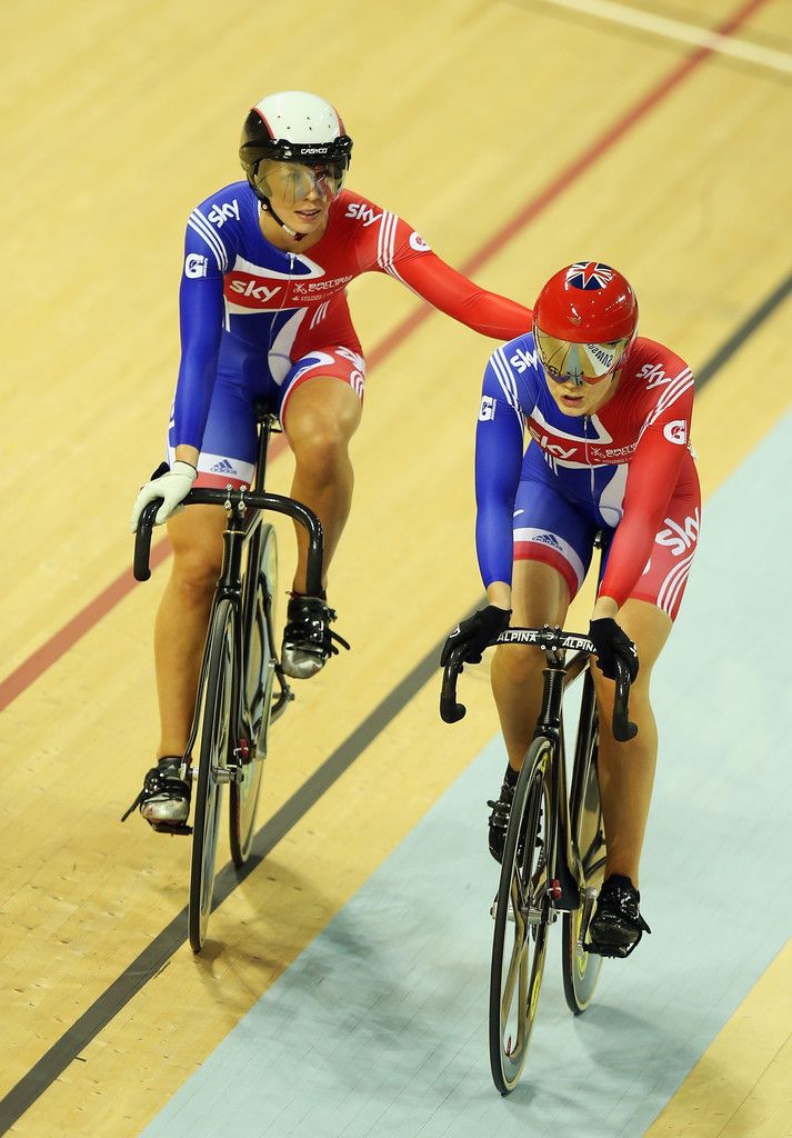 Jessica Varnish and Rebecca James Photos - Jessica Varnish (r) of Great Britain is congratulated by team mate Rebecca James (l) after their semi-final of the Women's Sprint during day two of the UCI Track Cycling World Cup at Sir Chris Hoy Velodrome on November 17, 2012 in Glasgow, Scotland. - UCI Track Cycling World Cup - Glasgow: Day Two