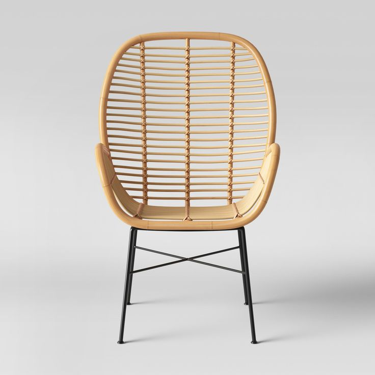Rattan Chair Metal Legs: Lily Rattan Arm Chair With Metal Legs