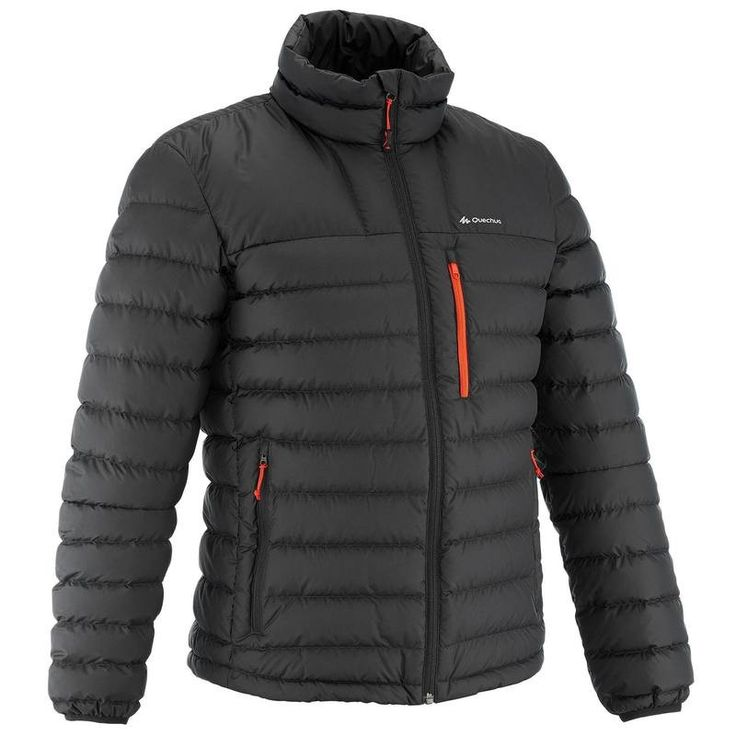Jachetă Călduroasă Drumeție Full Down Negru Bărbați