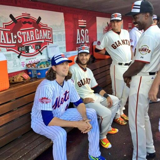 52d2aa7989b best price also pictured michael jacob degrom chats with the giants all  stars. brown 2016