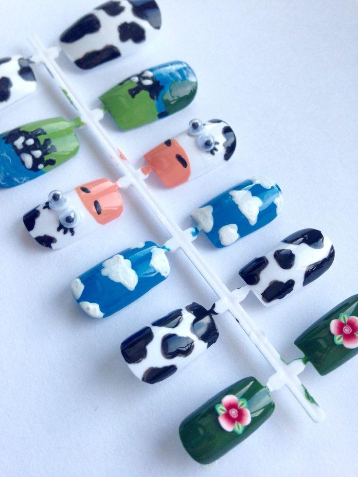 Cow Print False Nails. English Countryside Nail Art. Animal Print Fake Nails. 3D Googly Eyes. Farm Animals Stick on Nails.Blue Kawaii Nails. by FatCatNails on Etsy https://www.etsy.com/listing/247701868/cow-print-false-nails-english