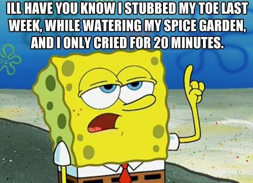 I'll have you know I stubbed my toe last week, while watering my spice garden, and I only cried for 20 minutes. ONLY cried for 20 minutes. HAHAHA! =))