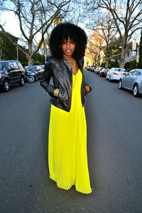 Style Pantry   Leather Moto Jacket + Pleated Neon Maxi Dress