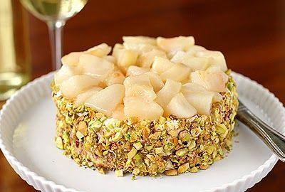"""Caramelized Pear and Gruyère """"Torte"""" - als Appetizer, evt. als einzelne Portionen in Tartelette-Förmchen?"""