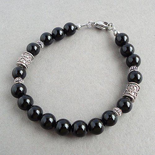 Black Onyx Men's Bracelet - 8mm Gemstone Beaded Jewelry for Men - Handcrafted in USA