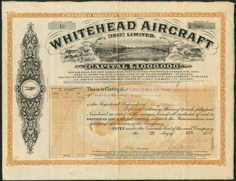 Whitehead Aircraft (1917) Limited, 1/- deferred ordinary shares, 19(18), signed by John Whitehead