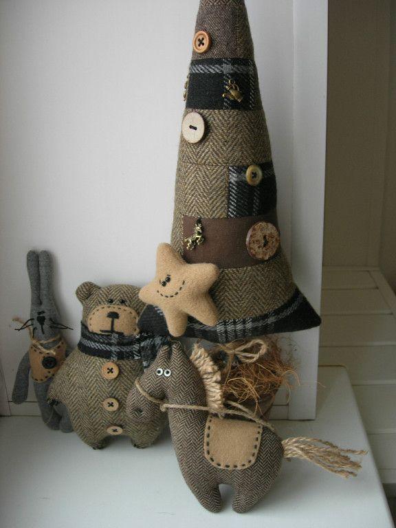 елка звезда лошадки и медведь своими руками из ткани