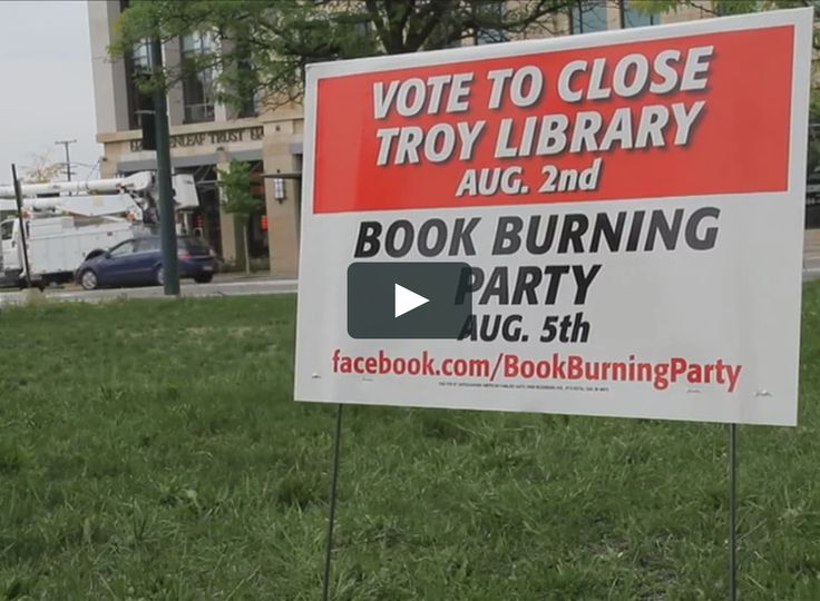 Troy Library > Book Burning Party