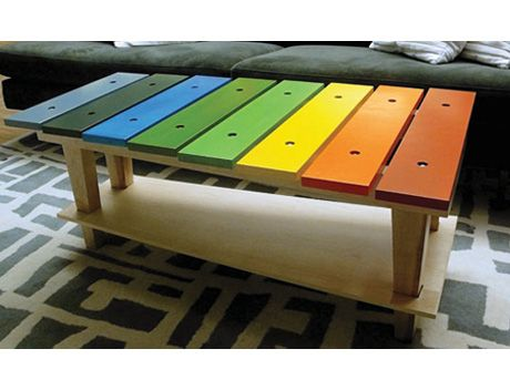 DIY xylophone table: Kids Furniture, Coffee Tables, Plays Rooms, Pallets Tables, Coff Tables, Families Rooms, Diy Projects, Wood Doors, Kids Rooms
