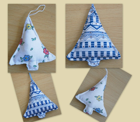 Christmas tree decoration  Recycled Fabric by TheCraftyWagon