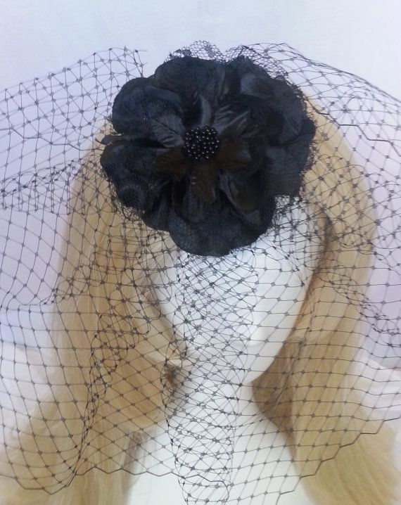 Black birdcage veil with black fabric flower by motownmillinery, $24.99