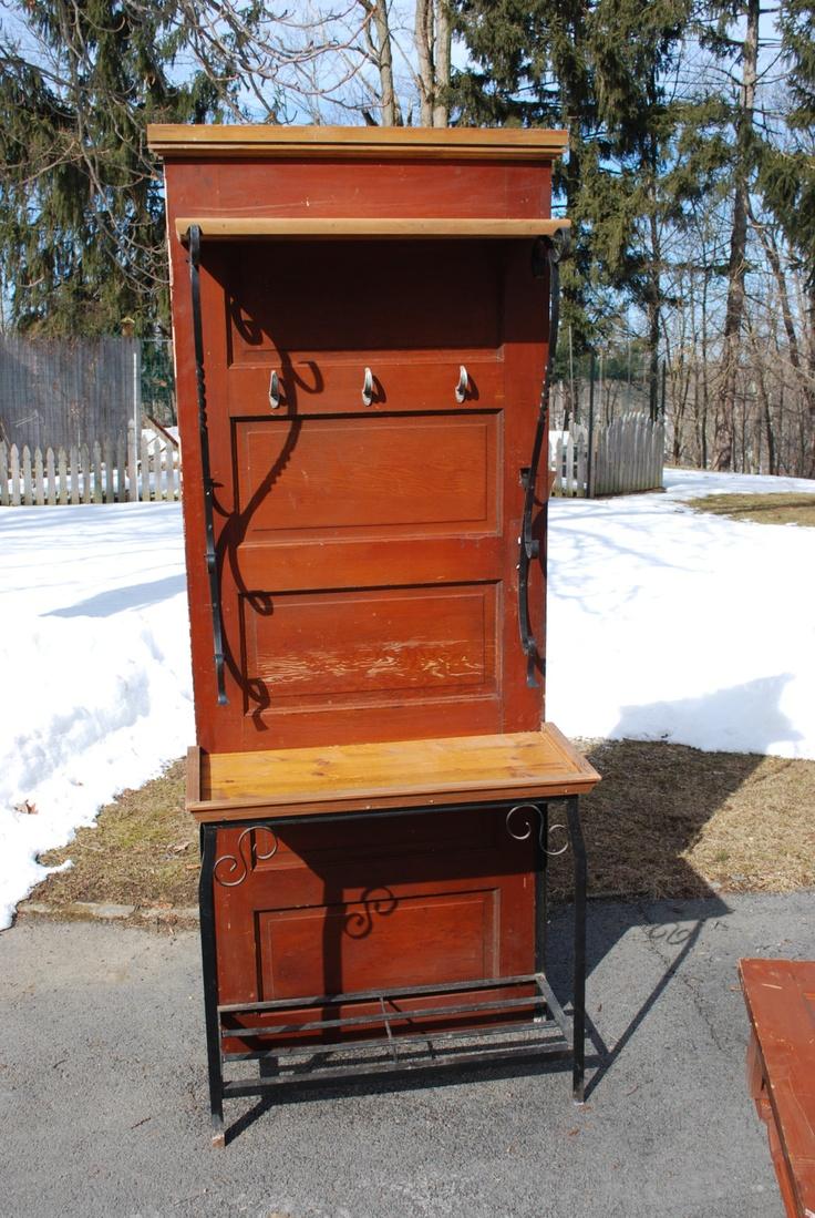 Antique 5 Panel Door Hall Tree Or Potting Bench