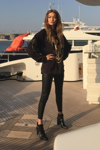 aa151dd5249c Gigi Hadid wearing Tommy Hilfiger Gigi Leather Buckle Boots