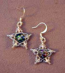 More free beading patterns   Here a free beading pattern.   Easy Swarovski Star Earrings by Jennifer VanBenschoten. Thank you sooo much Jennifer.