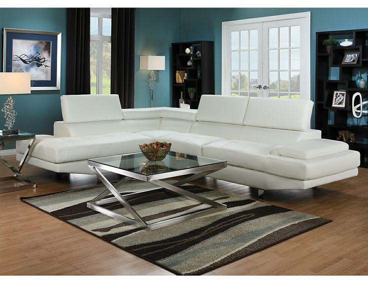 Zane 2 Piece Sectional W/Left Facing Chaise   White, (ZANEWLSEC. Living Room  SectionalThe BrickAccent ...