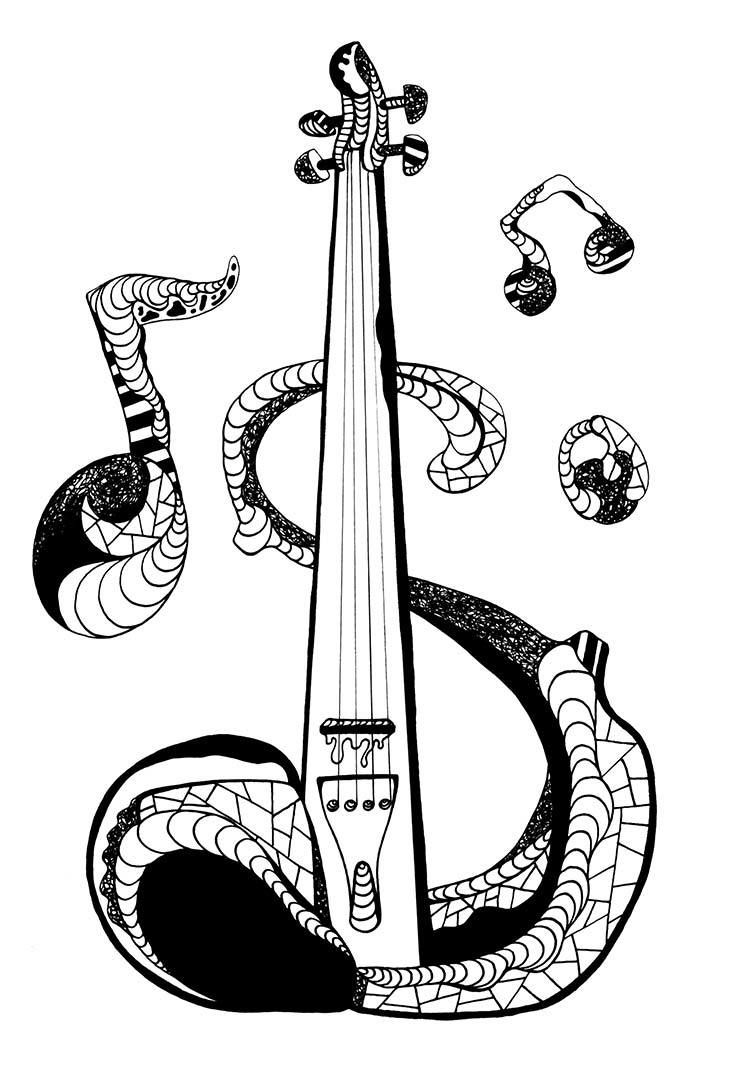 cool guitar coloring pages | Best 330 Music Coloring Pages for Adults ideas on ...