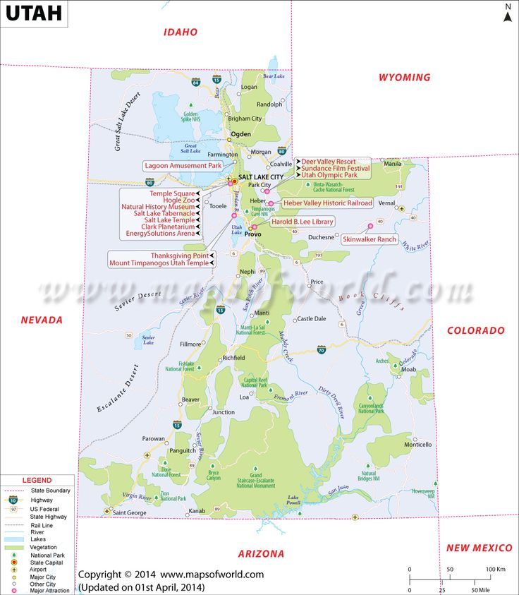 Utah map showing the major travel attractions including cities, points of interest, and more.