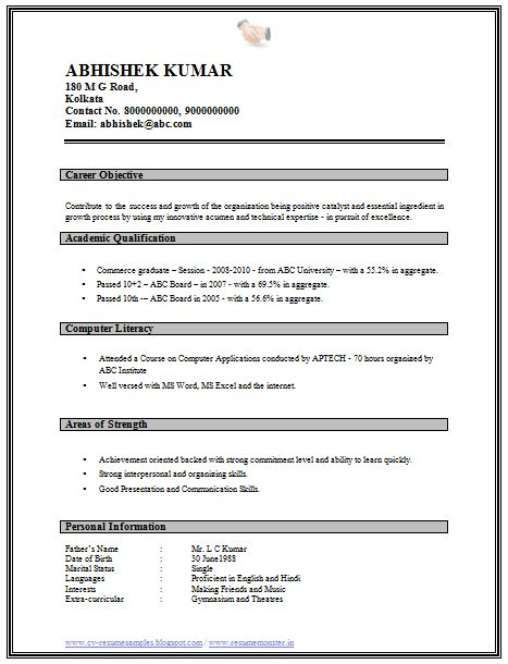 Professional Curriculum Vitae / Resume Template for All Job Seekers  Sample Template of a Graduate Fresher Resume Sample, Professional Curriculum Vitae with Free Download in Word Doc (One Page Simple Resume) (Click read More for Viewing and Downloading the Sample)  ~~~~ Download as many CV's for MBA, CA, CS, Engineer, Fresher, Experienced etc / Do Like us on Facebook for all Future Updates ~~~~