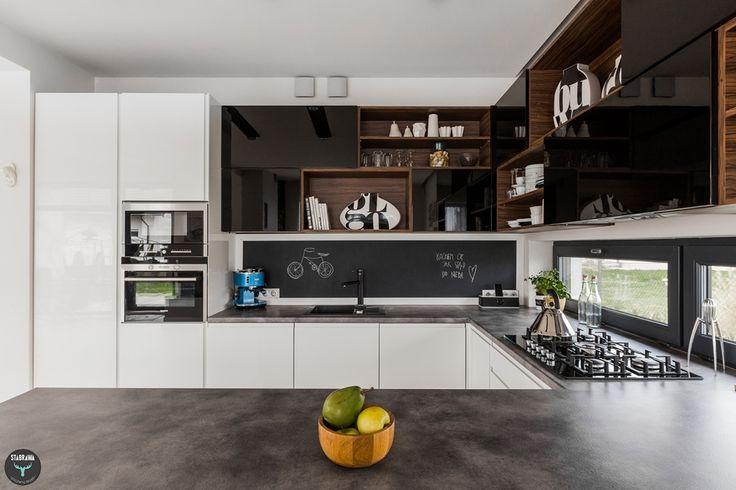 Kuchnia, farba tablicowa, drewno, czarny, biały