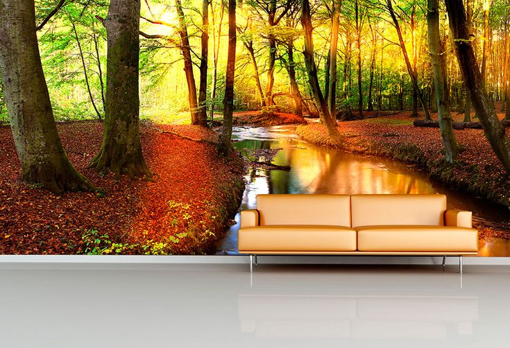 Forest River Wall Mural - Moon Wall Stickers