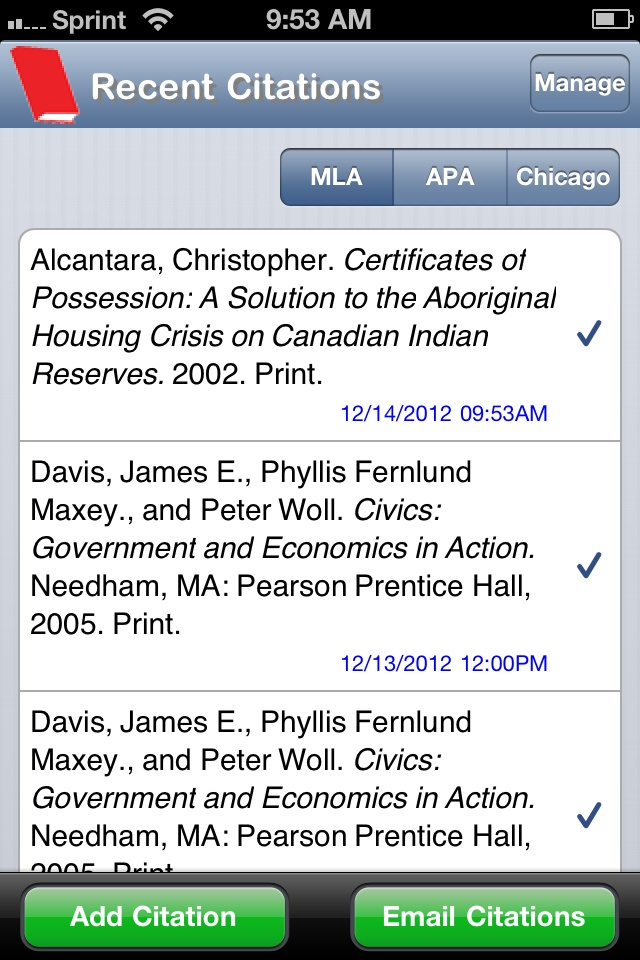 You can cite your work from your phone into MLA, Chicago, and APA