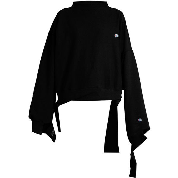 Vetements X Champion oversized cotton-blend sweatshirt (£615) ❤ liked on Polyvore featuring tops, hoodies, sweatshirts, vetements, black, long sleeve cutout top, long sleeve sweatshirt, cutout tops, cut out sweatshirt and cut-out tops