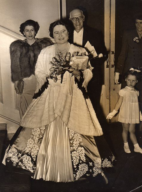 Royal Albert Hall 1949. Princess Elizabeth and her mother HRH Queen Elizabeth. Photo courtesy of Sandra, the little girl in the photo. :) (See next pin for photo of Sandra holding HRH's bouquet ~ cute)