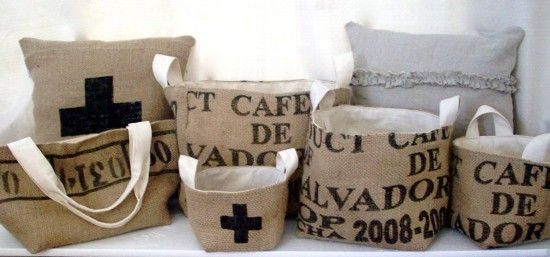 Very nice design of recycled coffee bean bags. Love the pillows with the typography! Looks amazing!