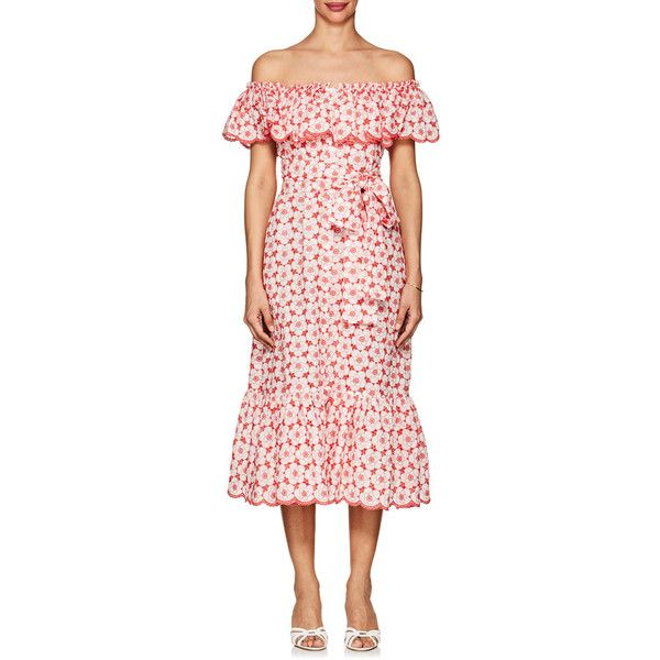 Lisa Marie Fernandez Women's Mira Cotton Eyelet Belted Dress ($795) ❤ liked on Polyvore featuring dresses, tomato floral, off-shoulder ruffle dresses, pink floral dress, pink off the shoulder dress, pink ruffle dress and ruffle dress