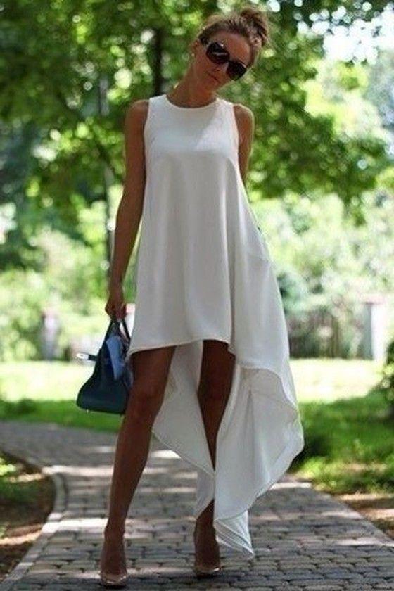 White Plain Round Neck Irregular Sleeveless High-Low Chiffon Dress - Mini…