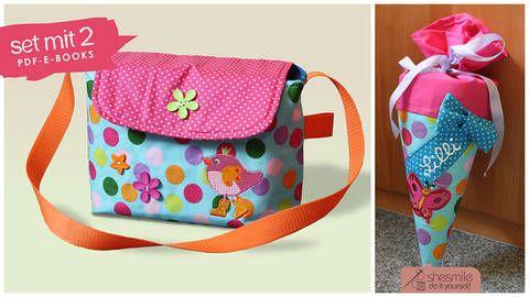 2er-Set für den 1. Kindergarten-Tag, Tasche und kleine Schultüte (Nähanleitung und Schnittmuster) bei Makerist