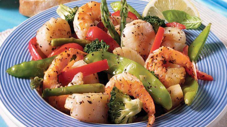 Sauté de pétoncles, crevettes aux légumes au gingembre et citron