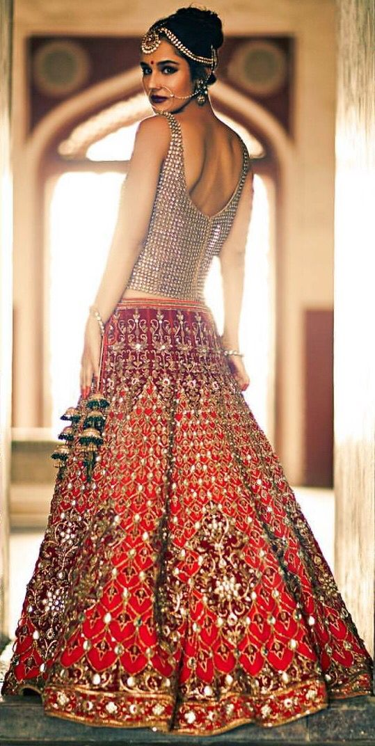 Red & Gold Embellished #Lehenga With Sparkling #Blouse.