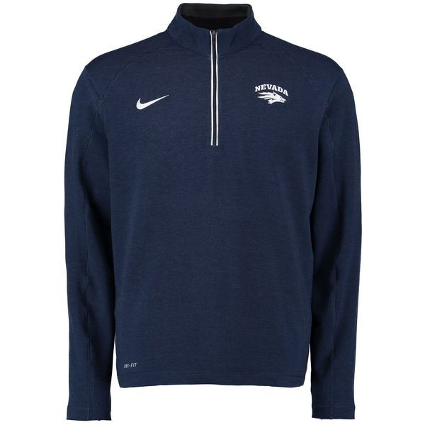 Nevada Wolf Pack Nike Football Coaches Sideline Half-Zip Tri-Blend Performance Knit Top - Navy - $68.99