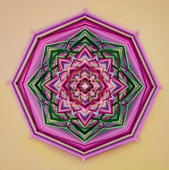 Lotus yarn mandala  Ojo de Dios 20 inches 51 cm by JivaMandalas