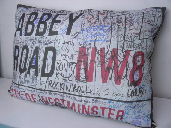 Beatles Genuine Abbey Road Sign Large Pillow by TheSewingCroft, $40.00