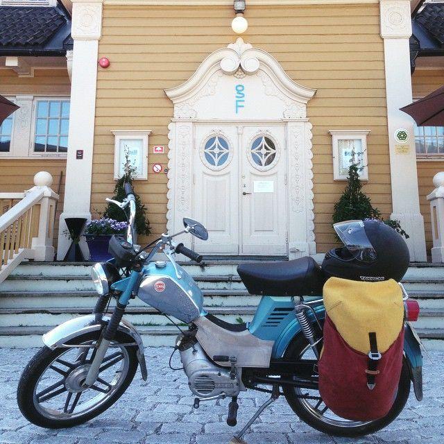 Margaret speeding around Norway with her Harris Tweed Krukke and Tempo Corvette.